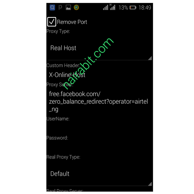 Airtel 0.0kobo Unlimited Free Browsing Psiphon settings 1