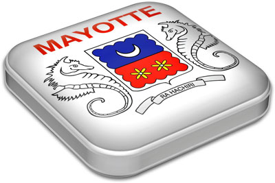 Flag of Mayotte with metallic square frame