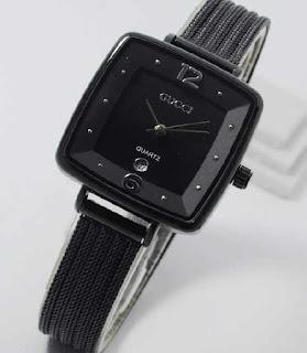 jam tangan Gucci segi date sand chain full black