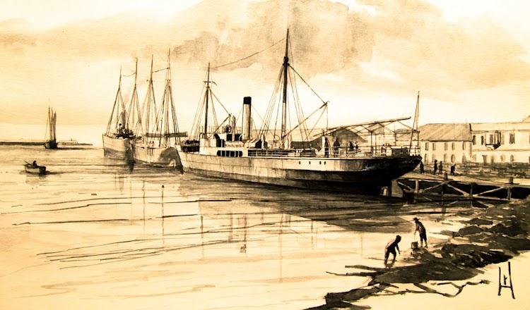 Vapor UNIÓN atracado en el arranque del muelle del Serpis de Gandía. Acuarela de Roberto Hernandez, El Ilustrador de Barcos.jpg