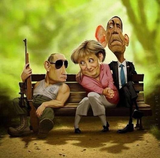 Путин, Меркель и Обама