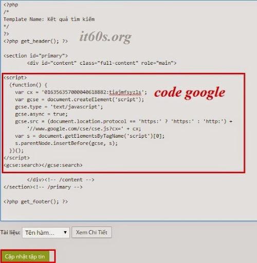 Cách tích hợp công cụ tìm kiếm google vào wordpress không dùng Plugin 9