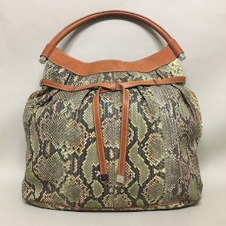 Lambertson Truex Green Snakeskin Hobo Bag