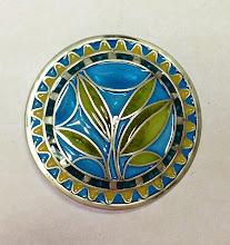 """Photo: Plique-à-Jour Enamel Button - Leaves/Plant Fine Silver, Plique-a-Jour Transparent and opalescent enamels - approximately 1 3/8"""" diameter - $325.00 US"""
