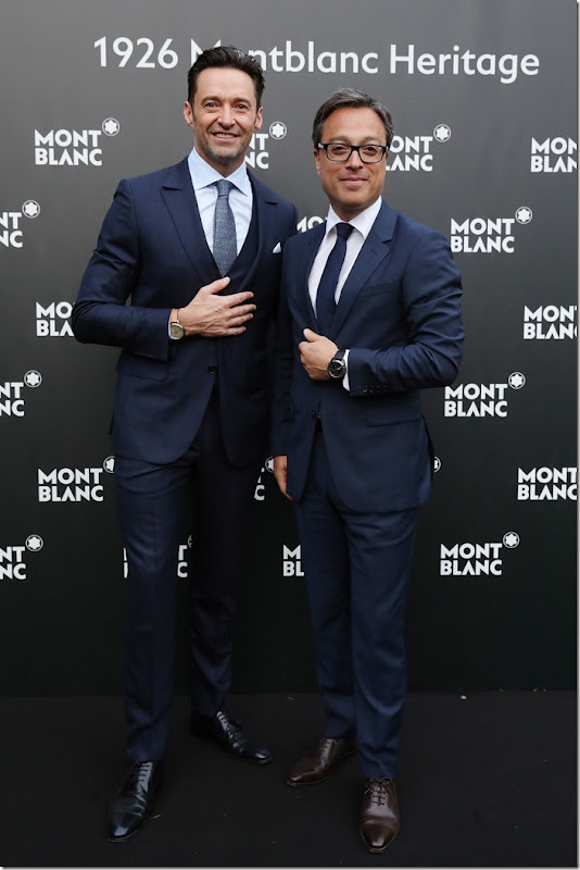 FLORENCE, ITALY - JUNE 14:  Hugh Jackman and CEO Montblanc International Nicolas Baretzki attend '1926 Montblanc Heritage Launch event' on June 14, 2017 in Florence, Italy.  (Photo by Vittorio Zunino Celotto/Getty Images for Montblanc)