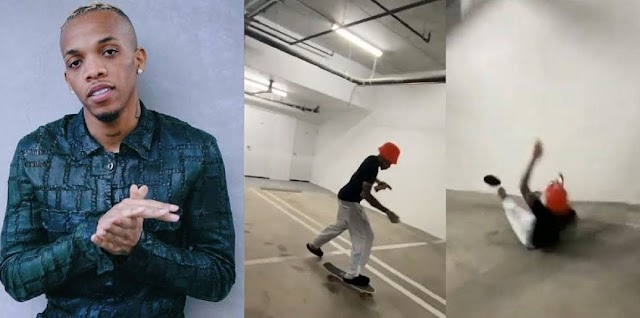 Don't Try This – Tekno Warns after Hitting his Head on the Floor for Skating for the first time  (Video)