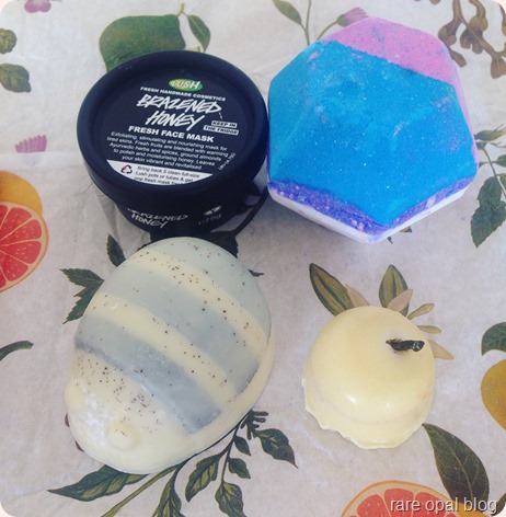Lush Cosmetics Brazened Honey Face Mask, The Experimenter Bath Bomb, Floating Island Bath Melt, Scrubee Body Butter