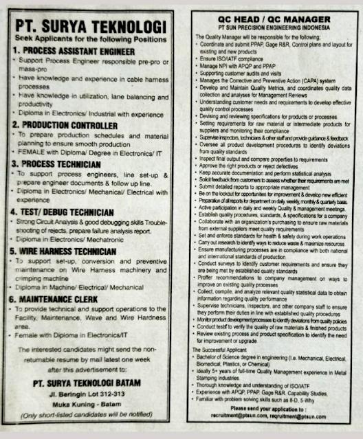 Loker Batam PT Surya Teknologi dan PT Sun Precision Engineering Indonesia