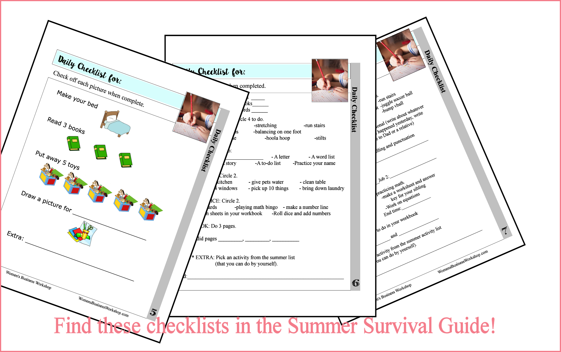 Daily summer lists for kids