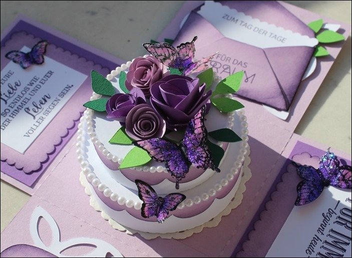 Explosion Box Wedding Purple Glitter Butterflies 13