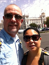 Photo: First photo in Madrid at Plaza Cibeles!  Yes, we've been up for over 30 hours straight.