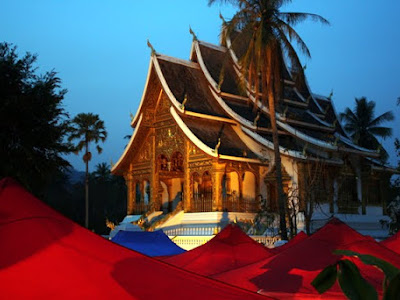 Temple at night in Luang Prabang Laos