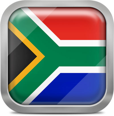 South Africa square flag with metallic frame