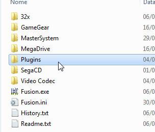 A pasta de plugins de vídeo já descompactada na raíz do emulador