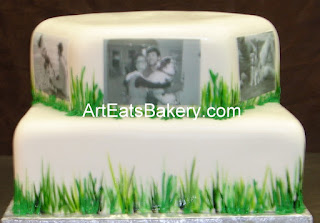 Two tier square and hexagon Groom's cake with black and white pictures of the couple and their great dane