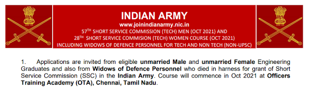 Indian Army Recruitment - 191 Short Service Commission - Last Date: 23rd June 2021