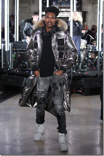 NEW YORK, NY - FEBRUARY 13:  A model walks the runway wearing look #47 for the Philipp Plein Fall/Winter 2017/2018 Women's And Men's Fashion Show at The New York Public Library on February 13, 2017 in New York City.  (Photo by Thomas Concordia/Getty Images for Philipp Plein)
