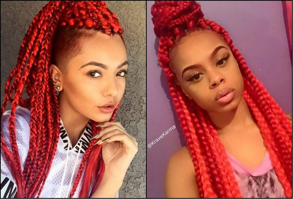 Hairstyles Braids With Color: Colourful Box Braids Hairstyles 2017