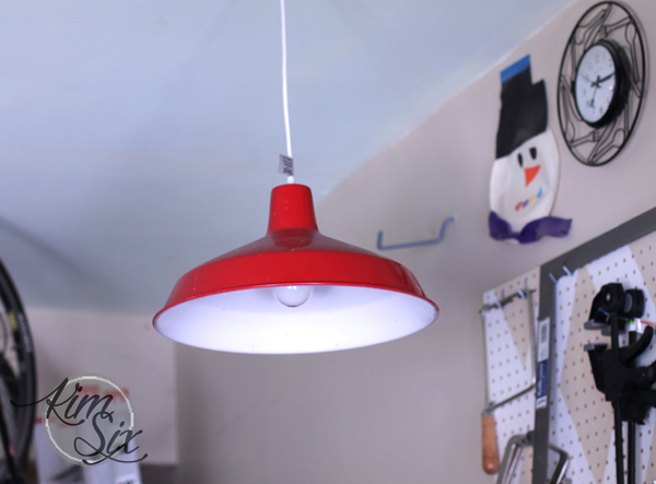 Red farm lamp hanging