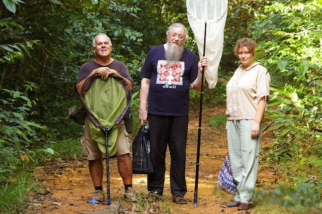 Lépidoptéristes québecois et russes. Layon au sud d'Amazone Nature Lodge, Montagne de Kaw. 17 novembre 2011. Photo : J.-M. Gayman