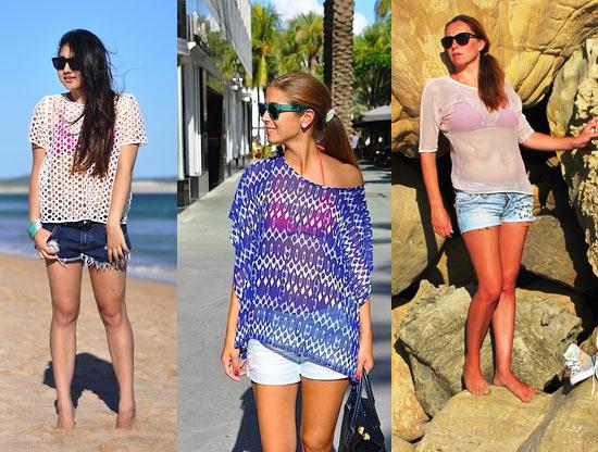 Como usar biquini rosa com short jeans e blusa