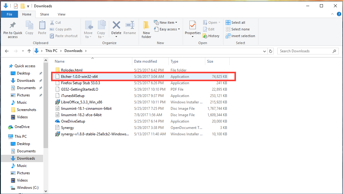 Figure 3 Etcher in Downloads folders in Windows 10