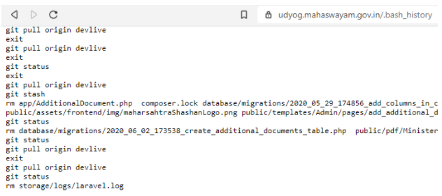 Image of exposed .bash_history file