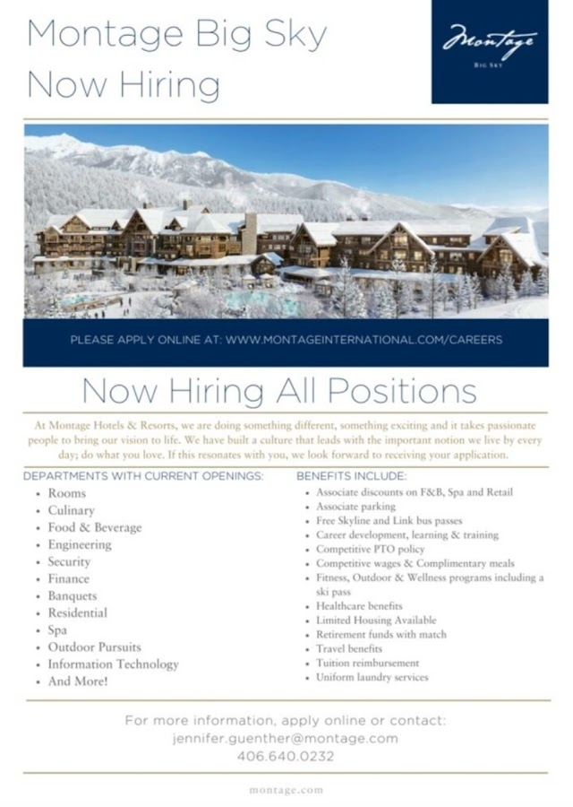 Job Openings at Montage Big Sky MT  Pre-Opening | Montage Hotels & Resorts United States