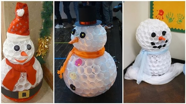 Recycling of plastic bottles impressive plastic cups snowman for Cup snowman