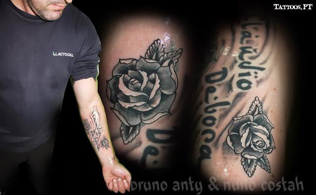 tatouage rose noir et blanc bras. Black Bedroom Furniture Sets. Home Design Ideas