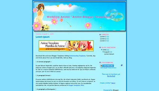 'Plantilla Anime Blogger' Wedding Anime Template