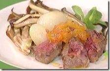 Filetto alle albicocche con radicchio e cipolline in agrodolce