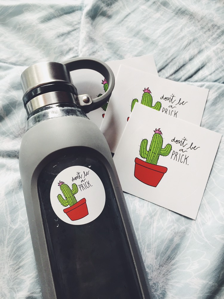 "frowning cactus on sticker with text ""don't be a prick"" modeled on water bottle"