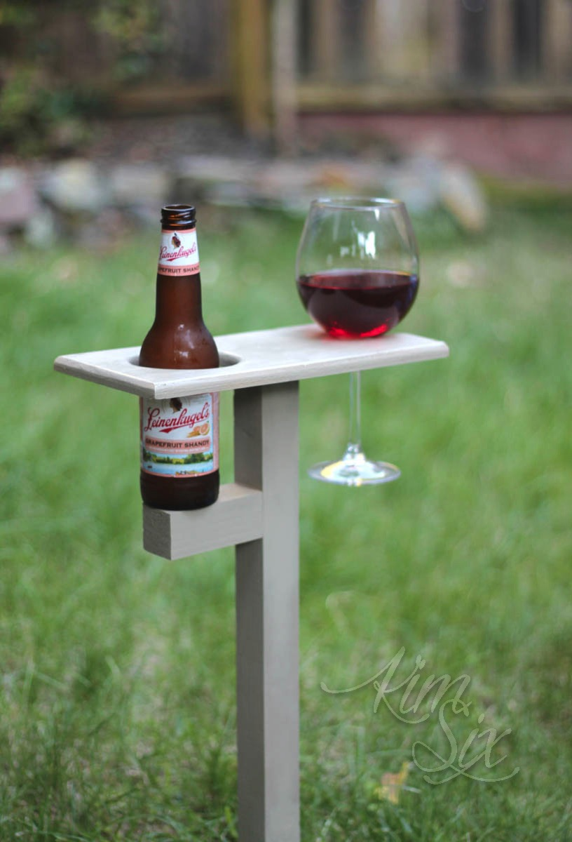 Wood beverage caddy insert into ground