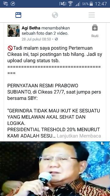 Pernyataan Resmi Prabowo Setelah Pertemuan di Cikeas