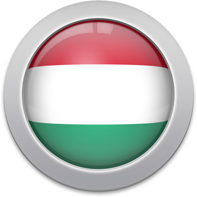 Hungarian flag icon with a silver frame