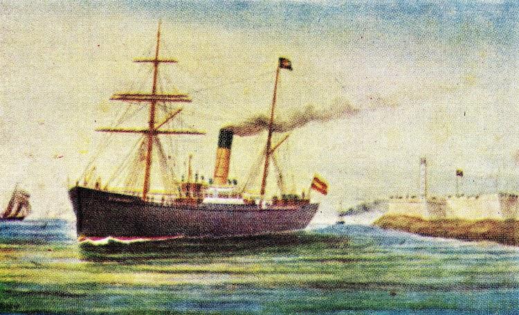 Pintura del EUSKARO que aunque no se aprecia bien, muestra los colores de la naviera. Del libro La Marina Cantabra. Desde el Vapor. Volumen III.jpg