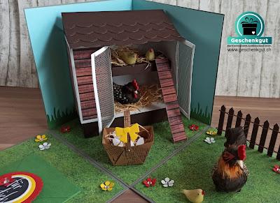 Geschenkbox Explosionsbox Überraschungsbox Hühnerstall Gutschein Geldgeschenk
