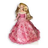 12. kép: Formatorták (lányoknak) - Barbie torta rózsaszín ruhával virágrajzzal