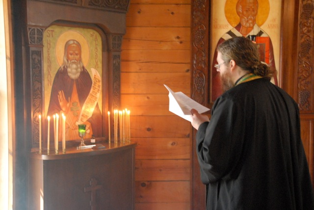 Fr. Nathan serving during the Akathist to St. Herman