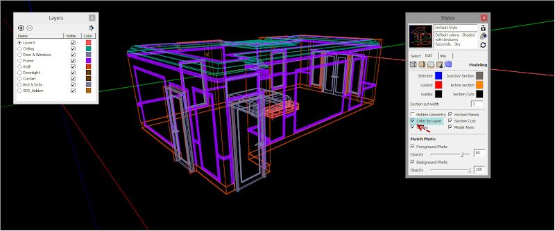 SketchUp - กำหนดการแสดงผลของ SketchUp ให้เหมือนกับการทำงานบน AutoCAD Sutocad06
