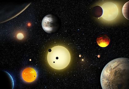 ilustração das descobertas planetárias realizadas pelo telescópio espacial Kepler