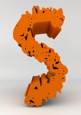 lettre 3D chiffron de craie orange - S - images libres de droit