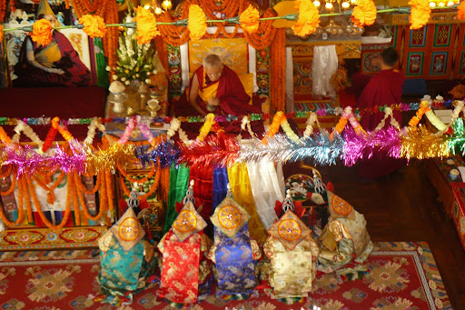 5 dakinis during long life puja, Kopan Monastery, December 2008.