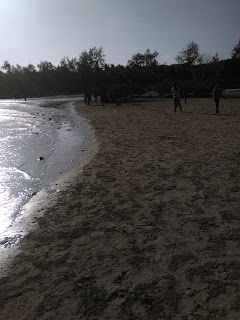Children play at Mombasa beach as parents took them for valentines.