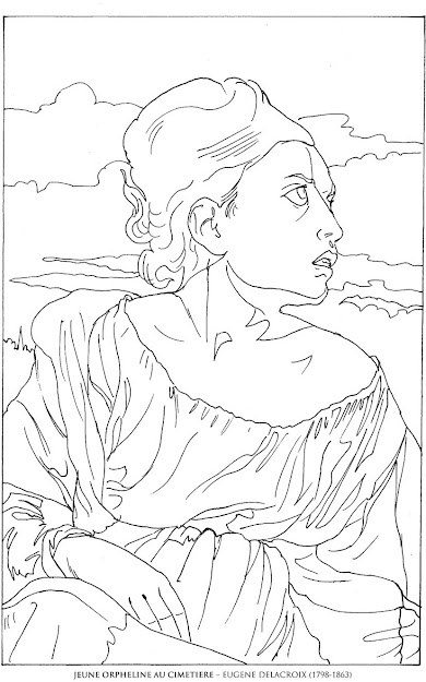 Orphelineaucimetiereeugenedelacroix Famous Paintings Coloring Pages