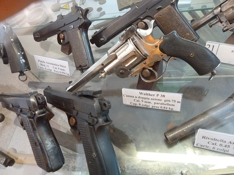 A Walther P 38 in the center at Museo Storico degli Alpini - Trento, Italy