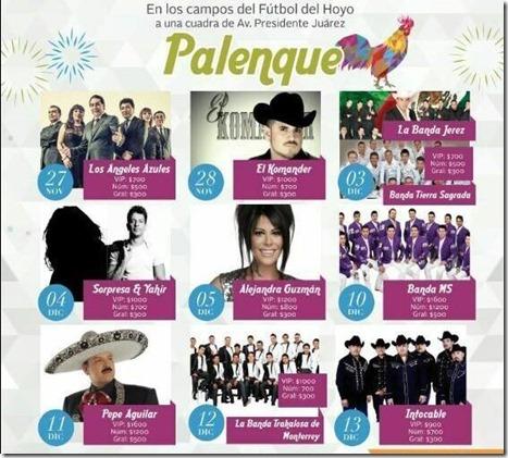 Palenque Tlalnepantla 2015 Cartelera de Artistas