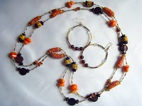 West African Long Bead Necklace + Earrings