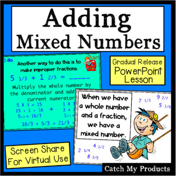 Easy use lesson to teach students to add fractions and mixed numbers. #teachers #blog